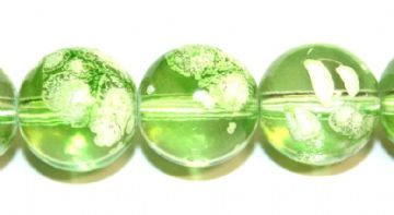 30pieces x 14mm Lime green colour round shape bubble gum glass beads / speckled glass beads -- 3005136